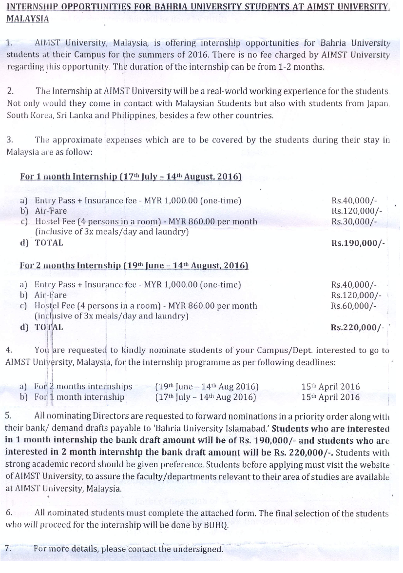 Internship opportunity for BU students – Bahria University Medical