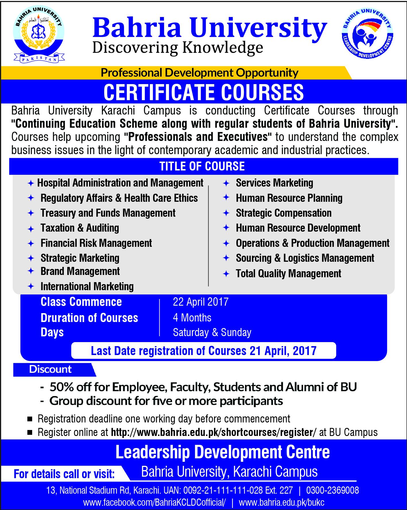 Certificate courses bukc bahria university karachi campus xflitez Image collections