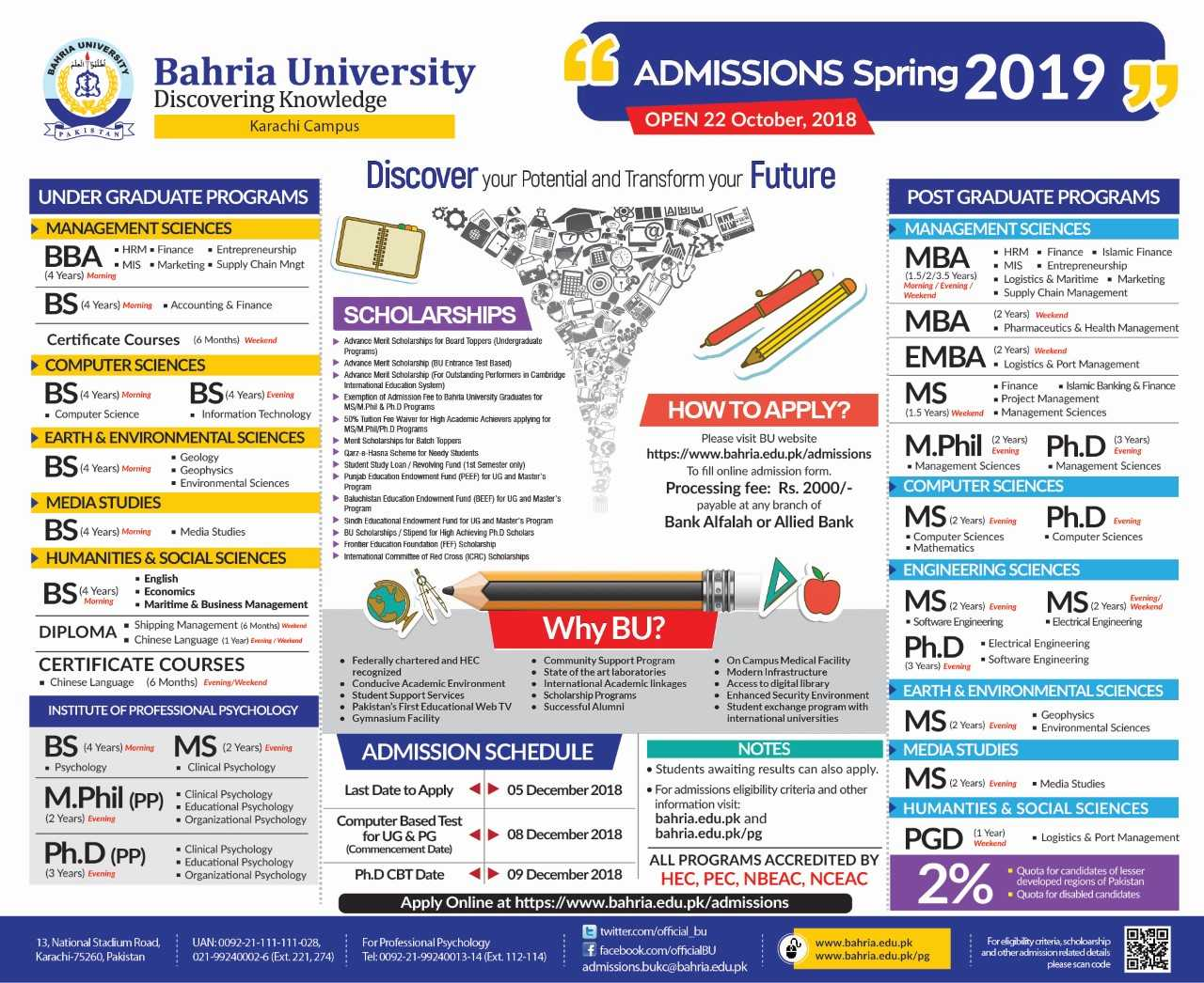Admissions Open Spring 2019 Bukc Bahria University Karachi Campus