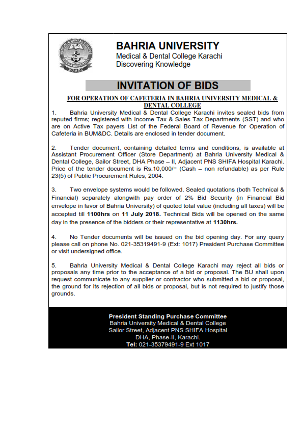 Invitation of Bids For Operation of Cafeteria in BUM&DC