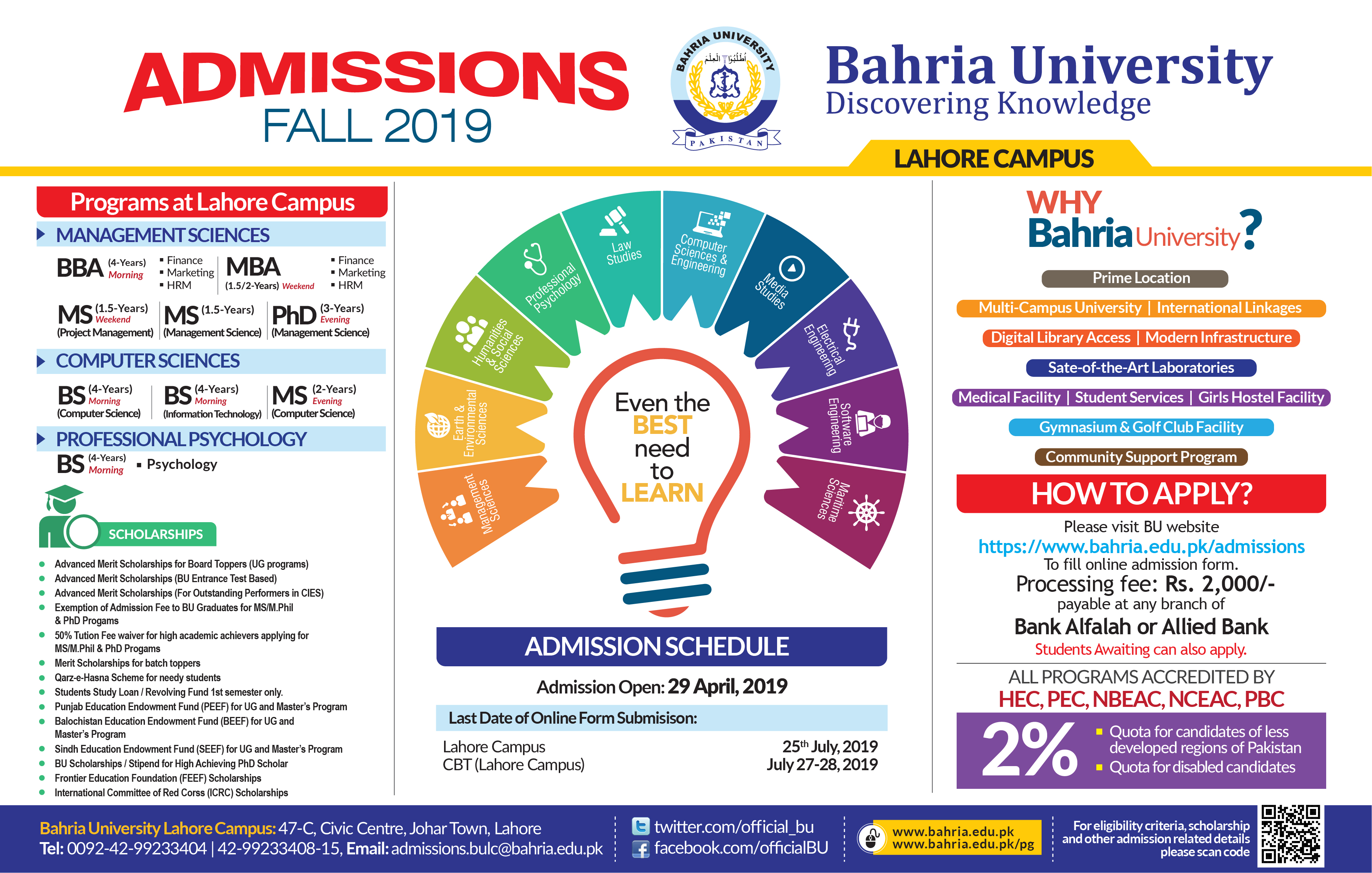 ADMISSIONS FALL 2019 OPEN FOR ISLAMABAD, KARACHI, LAHORE CAMPUSES